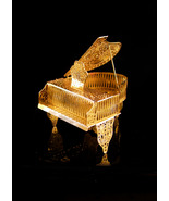 Miniature golden Baby Grand Piano - top opens and closes - filigree musical inst - $95.00