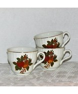 WEDGWOOD ENGLISH HARVEST TEACUPS 3 COFFEE CUPS no saucers FRUIT ENGLAND - $21.99