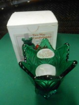 "NEW- beautiful FENTON ""Green"" Glass Two-Way CANDLE HOLDER - $12.46"