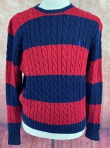 Polo Ralph Lauren Cable Cotton Sweater Navy Blue Red Stripe Royal Pony M... - $49.49