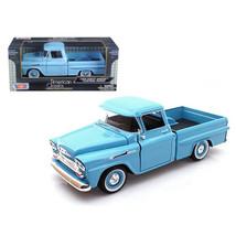 1958 Chevrolet Apache Fleetside Pickup Light Blue 1/24 Diecast Car Model... - $39.87
