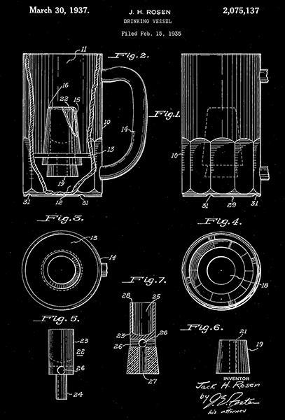 Primary image for 1937 - Beer Mug - Drinking Vessel - J. H. Rosen - Patent Art Poster