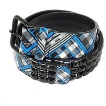 Blue Black Plaid Studded Belt 23 Punk Goth Womens  - $14.99