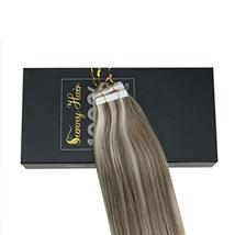 Sunny 18inch Human Hair Extensions Blonde Tape in Extensions #14 Dark Golden Blo image 7