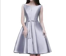 Cheap Knee-Length Gray Women Bridesmaid Dress Short Plus Size Prom Party Dresses - $50.33