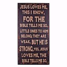 Vintage décor Jesus Loves Me  Wood Antique Wisdom Sign Wall Décor Large ... - $39.27