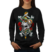 Biker Rock Art Skull Jumper  Women Sweatshirt - $18.99