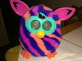 2012 Hasbro Electronic Furby Boom Stripes Orange Purple Pink ears Teal WORKS!! - $15.43