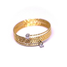 18K ROSE GOLD MAGICWIRE RING, MULTI WIRES ELASTIC WORKED, contrarié, DIAMOND image 2