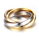 Primary image for Three Color Gold Plated Set Of 3 Stainless Steel Interlocking Rings Sz8