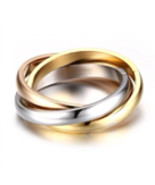 Three Color Gold Plated Set Of 3 Stainless Steel Interlocking Rings Sz8 - $0.00