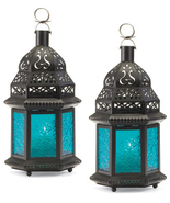 Two (2) hanging blue glass moroccan metal candleholder patio deck table ... - $25.07 CAD