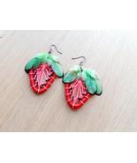 Strawbery dreamcatcher jewelry Boho jewelry Gift for her Fruit earrings ... - $17.83