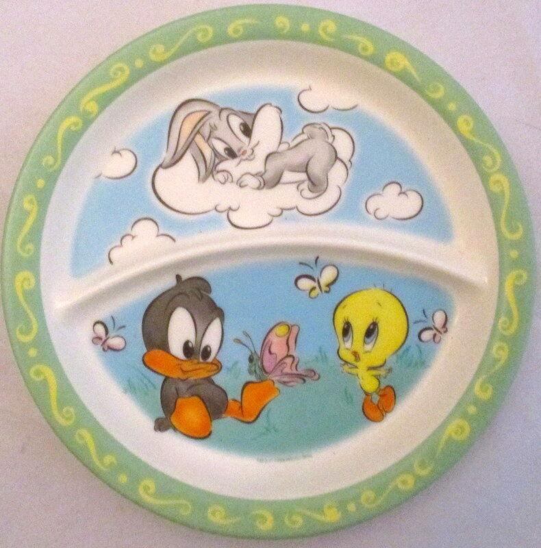 1998 Zak Designs Looney Tunes Baby Daffy Tweety Bugs Bunny Kid's Plate