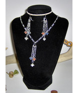 American Made!  Red White & Blue Agates Hang from Earrings and Necklace - $25.95