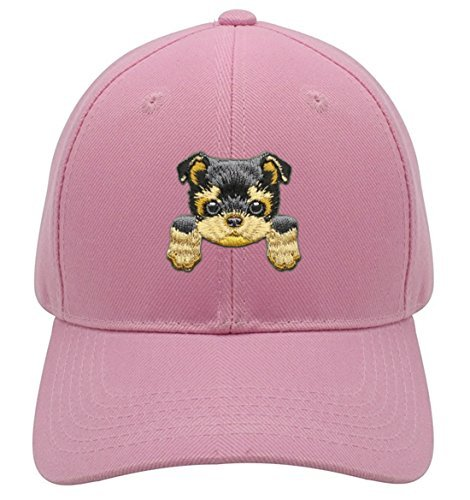 Yorkshire Hat Cute Puppy Dog Snapback Cap (Pink)