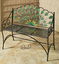 Peacock Bench Vibrant Colors Seats 2 Metal Sturdy Porch Deck Furniture NEW - $67.31