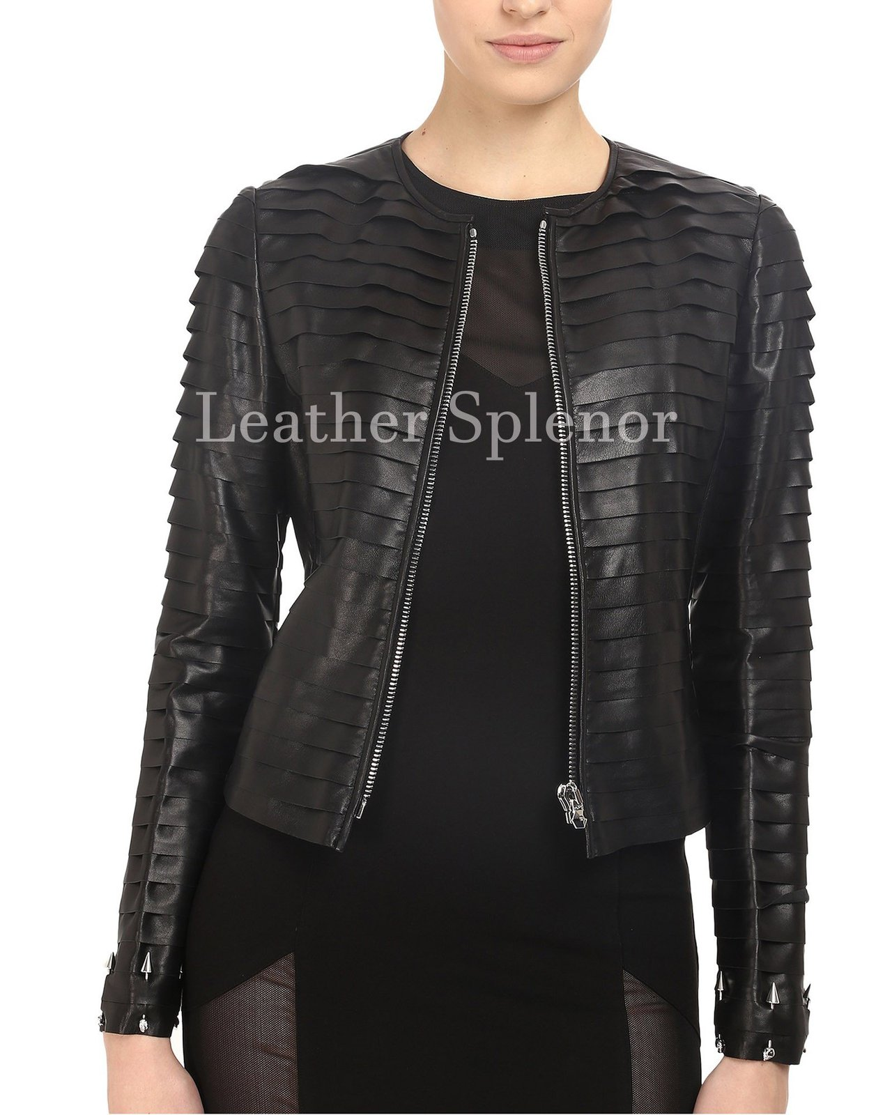 Layered Women Designer Leather Jacket