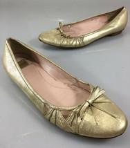 Coach Womens 8.5 B Tara Gold Metallic Leather Ballet Flats Shoes Made in... - $44.10