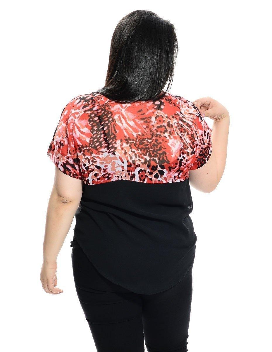 Short sleeve plus size blouse