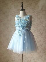 Full Flowers Embroidery Short Flower Girl Dress Blue Wedding Birthday Dress NWT image 8