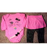 Girl's Size 6-9 M Months 2 Pc Garanimals Pink Kitten Top, Skirted Leggin... - $12.00