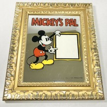 Vintage 1970's Mickey's Pal Mirror Picture Gold Frame Walt Disney RARE Mouse - $93.49