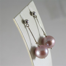 18K WHITE GOLD EARRINGS WITH PURPLE ROUND FRESHWATER PEARLS 13 MM MADE IN ITALY image 2