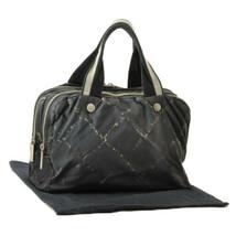 CHANEL Old Travel Line Hand Bag Brack Nylon CC Auth oh007 - $320.00