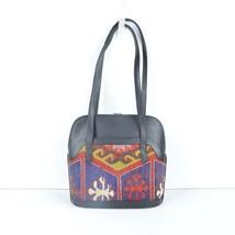 black Leather Handbag, Shoulder Bag handbag ,leather and kilim bags,vintage bags - $199.00