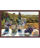 FRAMED A Wine Tasting 36x24 Art Print Poster Grapes Cheese by Marilyn Ha... - $82.28