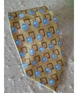 Silk Tie Ermenegildo Zegna Disegno Esclusivo Gold Blue Brown - $38.70
