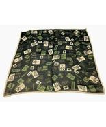 Echo Silk Crepe Scarf Black w Tan Botanical  20 x 19 Inch Sq Hankie - $18.32