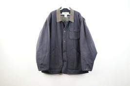 Vintage 90s Gap Streetwear Mens Large Faded Flannel Lined Chore Barn Jacket Gray - $98.95