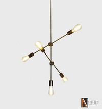Kate Handcrafted Modern Industrial Ceiling Lamp Molecular Light Brass Ch... - £208.76 GBP