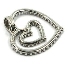 SOLID 18K WHITE GOLD PENDANT DOUBLE HEART WITH CUBIC ZIRCONIA, 18mm, 0.7 inches image 3