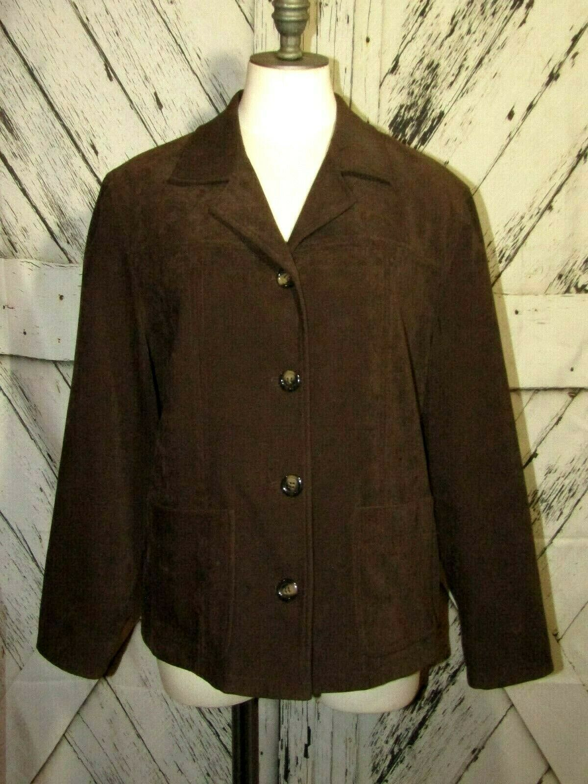 Primary image for Talbots Petites Womens Brown Button Up Blazer Jacket Sz M Professional Business