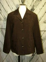 Talbots Petites Womens Brown Button Up Blazer Jacket Sz M Professional B... - $24.75