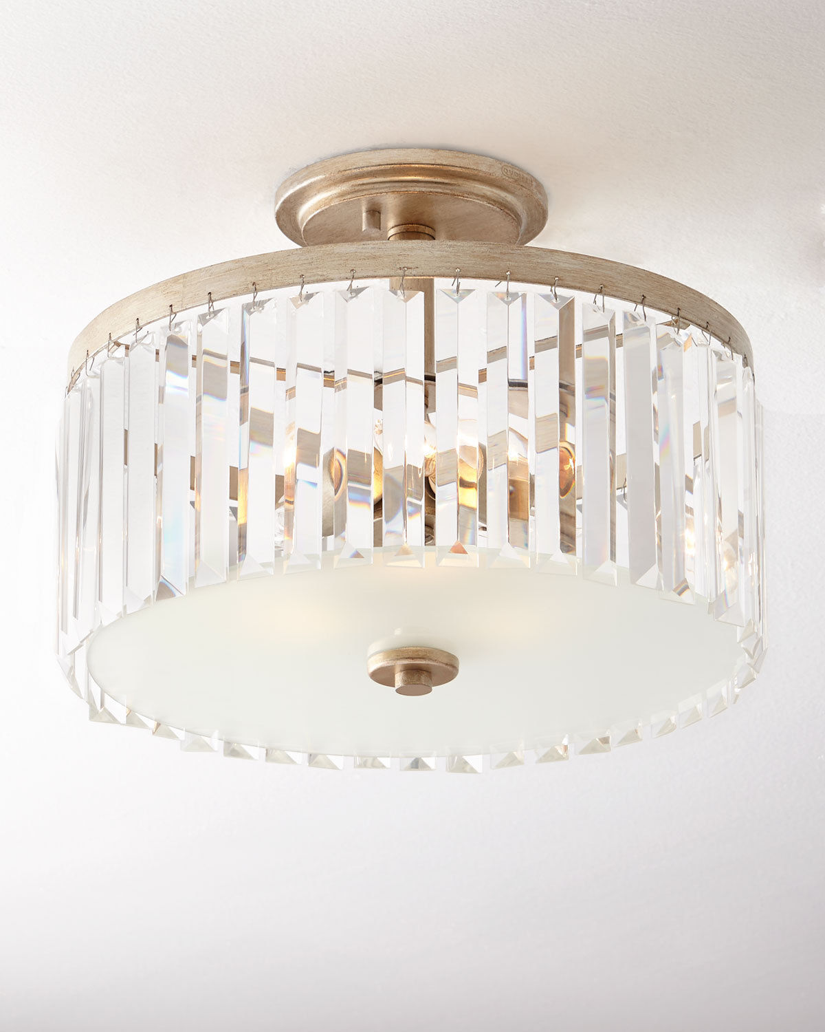 Primary image for Odeon CRYSTAL Fringe Gold SEMI FLUSH MOUNT Chandelier NEIMAN MARCUS Horchow New