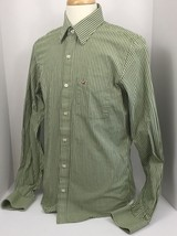 Hollister by Abercrombie & Fitch Long Sleeve Green Striped Shirt Men's L... - $12.71