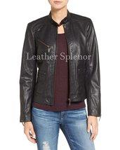 Tab Collar Women Leather Biker Jacket