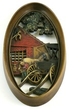 Vintage Burwood Oval Sculptured Art Wall Plaque, Farrier Horse, Faux Wood - $26.72