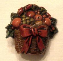 Hallmark Cards Collector Pin Brown Plastic Holiday Fruit Basket VTG - $9.86
