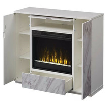 Fireplace TV Stand White Wood Media Console LED Insert Storage Cabinet S... - $366.29