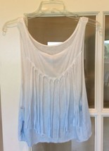 New Coverup Top Fringe White Blue Hombre Tank Live Love Dream Womens M - $10.99