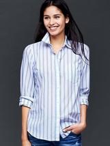 GAP Women's Fitted Boyfriend Stripe Shirt, Blue Stripe, Cotton Linen Size L, NWT - $44.96