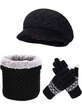 Pangda Winter Knitted Beret Hat Warm Loop Scarf Neck Warmer Touchscreen ... - $35.99