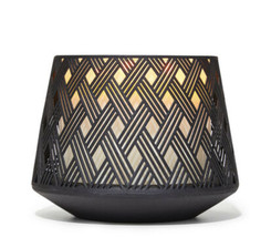Bath & Body Works Black Basketweave With Base Candle Holder Wick Large C... - $23.12