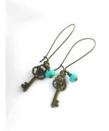 Skeleton Key Earrings Turquoise Picasso Bead Earrings Antique Brass Key ... - $27.00