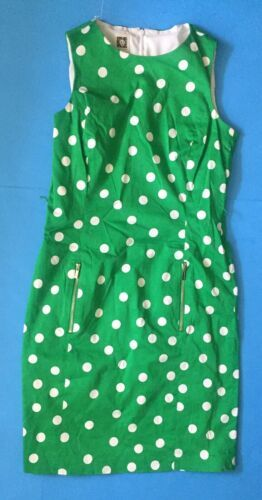 Anne Klein Green Polka Dot Pencil Dress Size 6 Zippered Pockets Fitted Classy